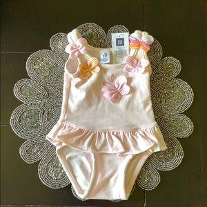 Baby GAP Girls Swim Suit Pink with Butterflies
